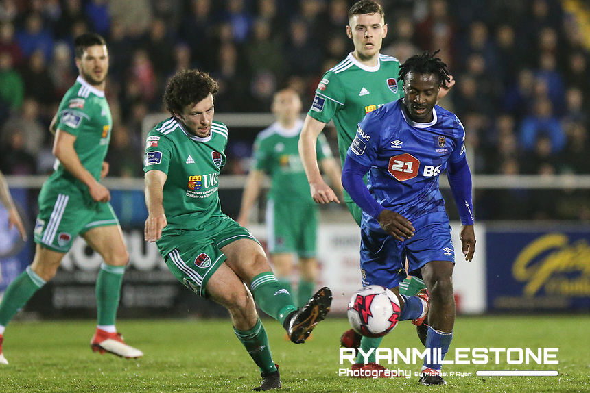Barry McNamee of Cork in action against Stanley Aborah of Waterford during the SSE Airtricity League Premier Division game between Waterford FC and Cork City on Friday 6th April 2018 at The RSC, Waterford. Photo By Michael P Ryan