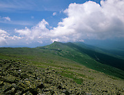 Appalachian Trail- Southern Presidential Range from the Westside Trail in the White Mountains, New Hampshire USA . Storm clouds moving in over Lakes of the Clouds Hut and Mount Monroe.