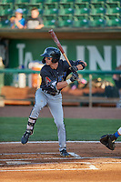 Kevin Watson Jr. (19) of the Missoula Osprey at bat against the Ogden Raptors at Lindquist Field on August 12, 2019 in Ogden, Utah. The Raptors defeated the Osprey 4-3. (Stephen Smith/Four Seam Images)