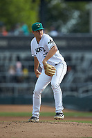 Augusta GreenJackets starting pitcher Keith Weisenberg (52) in action against the Kannapolis Intimidators at SRG Park on July 6, 2019 in North Augusta, South Carolina. The Intimidators defeated the GreenJackets 9-5. (Brian Westerholt/Four Seam Images)