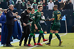 Real Betis Balompie's Loren Moron (L) and Jese Rodriguez (R) during La Liga match between CD Leganes and Real Betis Balompie at Butarque Stadium in Madrid, Spain. February 10, 2019. (ALTERPHOTOS/A. Perez Meca)