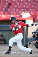 Bryan Brito #33 of the High Desert Mavericks bats against the Modesto Nuts at Heritage Field on June 29, 2014 in Adelanto, California. High Desert defeated Modesto, 6-1. (Larry Goren/Four Seam Images)