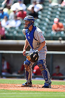 Tennessee Smokies catcher Charlie Cutler (37) during a game against the Birmingham Barons on April 21, 2014 at Regions Field in Birmingham, Alabama.  Tennessee defeated Birmingham 10-5.  (Mike Janes/Four Seam Images)