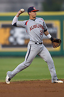 Auburn Tigers shortstop Dan Glevenyak #29 on defense against the LSU Tigers in the NCAA baseball game on March 22nd, 2013 at Alex Box Stadium in Baton Rouge, Louisiana. LSU defeated Auburn 9-4. (Andrew Woolley/Four Seam Images).