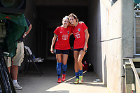CARY, NC - SEPTEMBER 12: Denise O'Sullivan #8 and Ryan Williams #13 of the North Carolina Courage take the field before a game between Portland Thorns FC and North Carolina Courage at Sahlen's Stadium at WakeMed Soccer Park on September 12, 2021 in Cary, North Carolina.