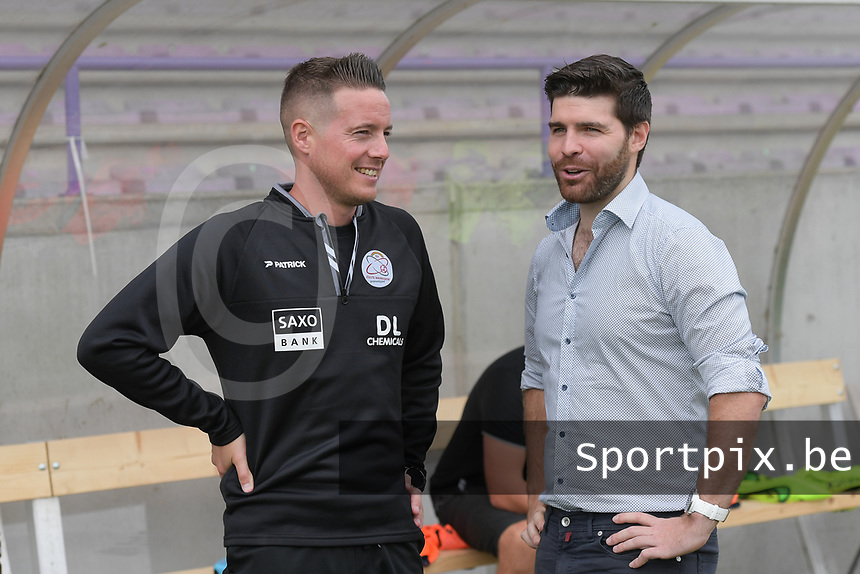 headcoach Angelo Gaytant of Zulte Waregem and headcoach Dennis Moerman of Club Brugge pictured during a female soccer game between SV Zulte - Waregem and Club Brugge YLA on the fourth matchday of the 2021 - 2022 season of the Belgian Scooore Womens Super League , saturday 11 of September 2021  in Harelbeke , Belgium . PHOTO SPORTPIX | DIRK VUYLSTEKE