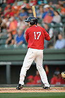 Third baseman Michael Osinski (17) of the Greenville Drive bats in a game against the Rome Braves on Friday, April 13, 2018, at Fluor Field at the West End in Greenville, South Carolina. Rome won, 10-6. (Tom Priddy/Four Seam Images)