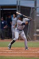 AZL Padres 1 shortstop Reinaldo Ilarraza (1) at bat during an Arizona League game against the AZL Padres 2 at Peoria Sports Complex on July 14, 2018 in Peoria, Arizona. The AZL Padres 1 defeated the AZL Padres 2 4-0. (Zachary Lucy/Four Seam Images)