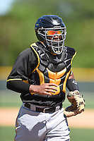 Pittsburgh Pirates catcher Carlos Paulino (15) during a minor league spring training intrasquad game on March 30, 2014 at Pirate City in Bradenton, Florida.  (Mike Janes/Four Seam Images)