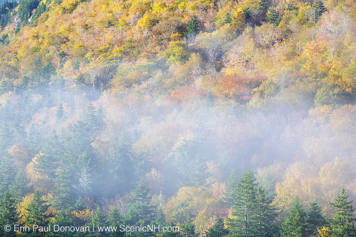 Crawford Notch State Park in the White Mountains, New Hampshire USA during the autumn months