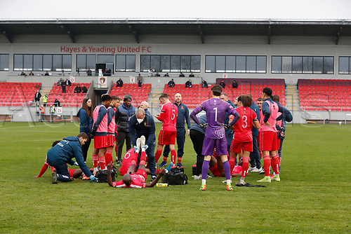 8th November 2020; SkyEx Community Stadium, London, England; Football Association Cup, Hayes and Yeading United versus Carlisle United; Hayes & Yeading United Manager Paul Hughes giving a team talk on the pitch with his players before the penalty shoot out