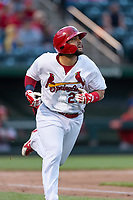 Springfield Cardinals catcher Jose Godoy (27) hustles down the first base line during a Texas League game against the Amarillo Sod Poodles on April 25, 2019 at Hammons Field in Springfield, Missouri. Springfield defeated Amarillo 8-0. (Zachary Lucy/Four Seam Images)
