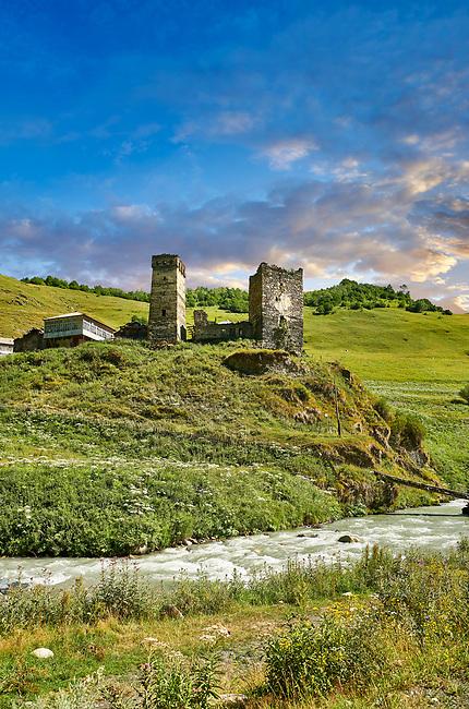 Stone medieval Svaneti tower houses of Davberi village in the Caucasus mountains, Upper Svaneti, Samegrelo-Zemo Svaneti, Mestia, Georgia.  A UNESCO World Heritage Site.