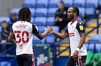 Bolton Wanderers' Nathan Delfouneso (right) celebrates with his team mate Peter Kioso after scoring his sides first goal <br /> <br /> Photographer Andrew Kearns/CameraSport<br /> <br /> The EFL Sky Bet League Two - Bolton Wanderers v Oldham Athletic - Saturday 17th October 2020 - University of Bolton Stadium - Bolton<br /> <br /> World Copyright © 2020 CameraSport. All rights reserved. 43 Linden Ave. Countesthorpe. Leicester. England. LE8 5PG - Tel: +44 (0) 116 277 4147 - admin@camerasport.com - www.camerasport.com