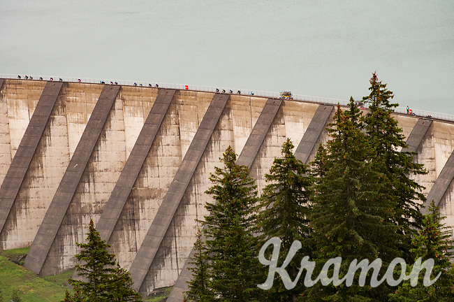 crossing the Barrage de Roselend in, yet again, grim conditions.<br /> <br /> Stage 9 from Cluses to Tignes (145km)<br /> 108th Tour de France 2021 (2.UWT)<br /> <br /> ©kramon