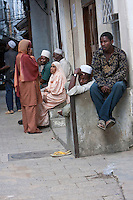 Stone Town, Zanzibar, Tanzania.  A Zanzibari Baraza as a Social Center.