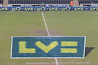 20130309 Copyright onEdition 2013©.Free for editorial use image, please credit: onEdition..LV= branding on the halfway line before the LV= Cup semi final match between Harlequins and Bath Rugby at The Twickenham Stoop on Saturday 9th March 2013 (Photo by Rob Munro)..For press contacts contact: Sam Feasey at brandRapport on M: +44 (0)7717 757114 E: SFeasey@brand-rapport.com..If you require a higher resolution image or you have any other onEdition photographic enquiries, please contact onEdition on 0845 900 2 900 or email info@onEdition.com.This image is copyright onEdition 2013©..This image has been supplied by onEdition and must be credited onEdition. The author is asserting his full Moral rights in relation to the publication of this image. Rights for onward transmission of any image or file is not granted or implied. Changing or deleting Copyright information is illegal as specified in the Copyright, Design and Patents Act 1988. If you are in any way unsure of your right to publish this image please contact onEdition on 0845 900 2 900 or email info@onEdition.com