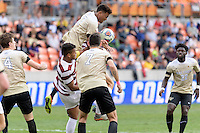 Houston, TX - Friday December 11, 2016: Logan Gdula (17) of the Wake Forest Demon Deacons attempts to head the ball in the Stanford Cardinal goal at the NCAA Men's Soccer Finals at BBVA Compass Stadium in Houston Texas.