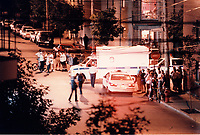 Montreal Police closed many streets in Centre Sud and made multiple arrest related to gang and drug dealing. Sept 1996<br /> <br /> PHOTO :  AGENCE QUEBEC PRESSE<br /> <br /> NOTE :  numerisation a refaire avec equipement moderne<br /> (a partir du negatif original) pour obtenir une meilleure qualite.