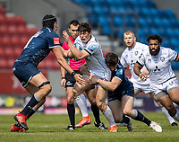 17th April 2021; AJ Bell Stadium, Salford, Lancashire, England; English Premiership Rugby, Sale Sharks versus Gloucester; Louis Rees-Zammit of Gloucester Rugby is tackled by JP du Preez of Sale Sharks