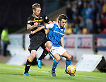 St Johnstone v Partick Thistle…08.08.17… McDiarmid Park.. Betfred Cup<br />Stefan Scougall holds off Chris Erskine<br />Picture by Graeme Hart.<br />Copyright Perthshire Picture Agency<br />Tel: 01738 623350  Mobile: 07990 594431