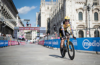 Tobias Foss (NOR/Jumbo-Visma) finishing in front of the mighty Duomo in Milano<br /> <br /> 104th Giro d'Italia 2021 (2.UWT)<br /> Stage 21 (final ITT) from Senago to Milan (30.3km)<br /> <br /> ©kramon
