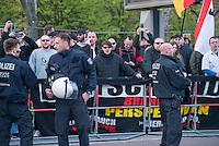 """Ca. 50 Neonazis der NPD, der Neonazi-Partei """"Die Rechte"""" und Hooligans protestierten am 20. April 2015 in Berlin Marzahn-Hellersdorf gegen eine geplante Fluechtlingsunterkunft. Die Neonazis wollten ein """"Geburtstagsstaendchen"""" anlaesslich des Hitlergeburtstages (20. April) singen, dies wurde ihnen von der Polizei jedoch untersagt.<br /> Im Bild mit Sonnenbrille: Daniela Froehlich, Rechtsradikale Aktivistin gegen die Fluechtlingsunterkunft.<br /> 20.4.2015, Berlin<br /> Copyright: Christian-Ditsch.de<br /> [Inhaltsveraendernde Manipulation des Fotos nur nach ausdruecklicher Genehmigung des Fotografen. Vereinbarungen ueber Abtretung von Persoenlichkeitsrechten/Model Release der abgebildeten Person/Personen liegen nicht vor. NO MODEL RELEASE! Nur fuer Redaktionelle Zwecke. Don't publish without copyright Christian-Ditsch.de, Veroeffentlichung nur mit Fotografennennung, sowie gegen Honorar, MwSt. und Beleg. Konto: I N G - D i B a, IBAN DE58500105175400192269, BIC INGDDEFFXXX, Kontakt: post@christian-ditsch.de<br /> Bei der Bearbeitung der Dateiinformationen darf die Urheberkennzeichnung in den EXIF- und  IPTC-Daten nicht entfernt werden, diese sind in digitalen Medien nach §95c UrhG rechtlich geschuetzt. Der Urhebervermerk wird gemaess §13 UrhG verlangt.]"""