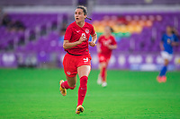 ORLANDO, FL - FEBRUARY 24: Evelyne Viens #9 of the CANWNT runs toward the ball during a game between Brazil and Canada at Exploria Stadium on February 24, 2021 in Orlando, Florida.