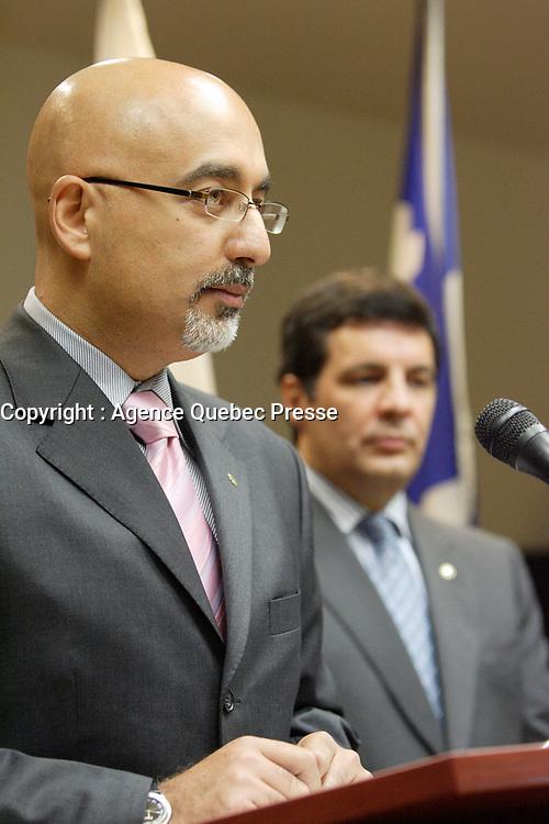 Monteal (Qc) CANADA, September 17, 2007 -<br /> <br /> Benoit Labonte (R), Ville-Marie Burrough Mayor and Karim Boulos (L) annoubce in a press conference that they leave Union Montreal, the party of Montreal's Mayor Gerard Tremblay over Tremblay lack of leadership.<br /> <br /> Benoit Labonte (D) et Karim Boulos (G) annoncent en conference de presse qu'ils quittent Union Montreal .<br /> Nous avons dÈcidÈ de quitter le<br /> parti politique du Maire GÈrald Tremblay, ont annoncÈ aujourd'hui messieurs<br /> Benoit LabontÈ, maire de l'arrondissement de Ville-Marie et ex-membre du<br /> comitÈ exÈcutif responsable de la Culture, du Patrimoine et du Design et Karim<br /> Boulos, conseiller d'arrondissement du district de Peter-McGill et maire<br /> supplÈant de Ville-Marie. Les deux Èlus siÈgeront dorÈnavant ? titre<br /> d'indÈpendants.<br /> <br /> photo : (c) Pierre Roussel -   Images Distribution