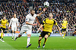 Real Madrid's Karim Benzema and Borussia Dortmund Sokratis Papastathopoulos during the UEFA Champions League match between Real Madrid and Borussia Dortmund at Santiago Bernabeu Stadium in Madrid, Spain. December 07, 2016. (ALTERPHOTOS/BorjaB.Hojas)