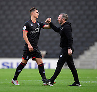 Lincoln City's Lewis Montsma, left, celebrates the victory with Lincoln City manager Michael Appleton<br /> <br /> Photographer Chris Vaughan/CameraSport<br /> <br /> The EFL Sky Bet League One - Milton Keynes Dons v Lincoln City - Saturday 19th September 2020 - Stadium MK - Milton Keynes<br /> <br /> World Copyright © 2020 CameraSport. All rights reserved. 43 Linden Ave. Countesthorpe. Leicester. England. LE8 5PG - Tel: +44 (0) 116 277 4147 - admin@camerasport.com - www.camerasport.com