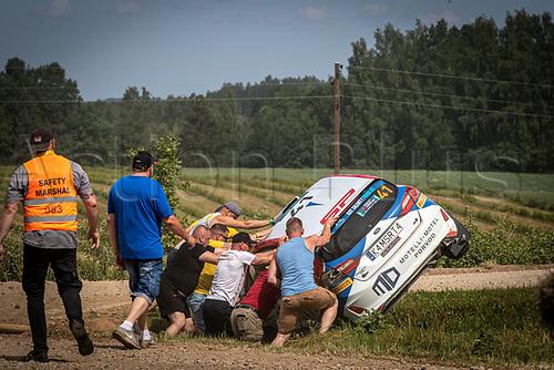 3rd July 2021, Liepaja, Latvia;  41 PAJARI Sami (FIN), MALKONEN Enni (FIN),PORVOON AUTOPALVELU, Ford Fiesta during the 2021 FIA ERC Rally Liepaja, 2nd round of the 2021 FIA European Rally Championship
