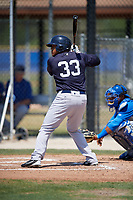 New York Yankees designated hitter Timmy Robinson (33) at bat during a minor league Spring Training game against the Toronto Blue Jays on March 30, 2017 at the Englebert Complex in Dunedin, Florida.  (Mike Janes/Four Seam Images)