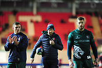 Head Coach Geordan Murphy (centre) of Leicester Tigers during the pre match warm up for the Heineken Champions Cup round 5 match between the Scarlets and Leicester Tigers at the Parc Y Scarlets Stadium in Llanelli, Wales, UK. Saturday 12th January 2019