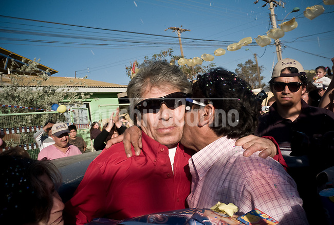 Mario Gomez, the older of the 33 miners that were rescued after being 70 days at the bottom of San Jose mine in North of Chile, returns to his home in Copiapo.