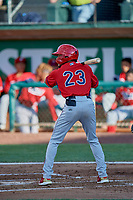 Jeremiah Jackson (23) of the Orem Owlz bats against the Ogden Raptors at Lindquist Field on June 22, 2019 in Ogden, Utah. The Owlz defeated the Raptors 7-4. (Stephen Smith/Four Seam Images)