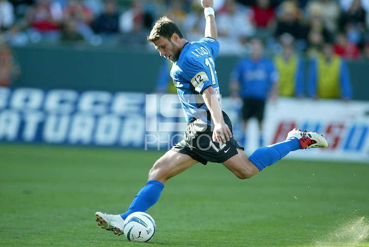Jeff Agoos strikes the ball. The San Jose Earthquakes defeated the Chicago Fire 4-2 in the MLS Cup Championships, in Carson, Calif.