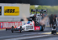 Jul 10, 2020; Clermont, Indiana, USA; NHRA top fuel driver T.J. Zizzo during testing for the Lucas Oil Nationals at Lucas Oil Raceway. This will be the first race back for NHRA since the COVID-19 pandemic. Mandatory Credit: Mark J. Rebilas-USA TODAY Sports