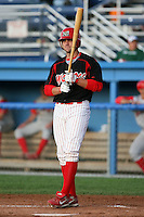 August 26 2008:  Chris Swauger of the Batavia Muckdogs, Class-A affiliate of the St. Louis Cardinals, during a game at Dwyer Stadium in Batavia, NY.  Photo by:  Mike Janes/Four Seam Images