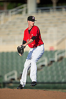 Kannapolis Intimidators relief pitcher Jack Charleston (25) in action against the Greensboro Grasshoppers at Intimidators Stadium on July 17, 2016 in Greensboro, North Carolina.  The Grasshoppers defeated the Intimidators 5-4 in game two of a double-header.  (Brian Westerholt/Four Seam Images)