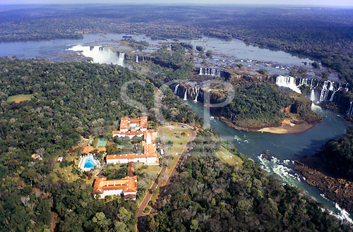 Iguassu Falls, Parana State, Brazil. Spectacular aerial view of the waterfalls and Hotel das Cataratas.