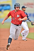 Kannapolis Intimidators first baseman Corey Zangari (14) runs to third during a game against the Asheville Tourists at McCormick Field on May 19, 2016 in Asheville, North Carolina. The Intimidators defeated the Tourists 10-7. (Tony Farlow/Four Seam Images)