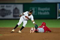 Jupiter Hammerheads shortstop Nasim Nunez (2) attempts to field a throw as Masyn Winn (3) slides safely into second base during a game against the Palm Beach Cardinals on May 11, 2021 at Roger Dean Chevrolet Stadium in Jupiter, Florida.  (Mike Janes/Four Seam Images)