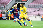 Andres Iniesta Lujan of FC Barcelona (L) in action against Michel Macedo of UD Las Palmas (R) during the La Liga 2017-18 match between FC Barcelona and Las Palmas at Camp Nou on 01 October 2017 in Barcelona, Spain. (Photo by Vicens Gimenez / Power Sport Images