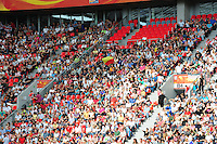 Fifa Women's World Cup Germany 2011 : England - France - at Leverkusen : Belgian Flag from Caroline Berrens , Laurence Marchal and Justine Vanhaevermaet.foto DAVID CATRY / Vrouwenteam.be