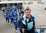 FK Trakai v St Johnstone…05.07.17… Europa League 1st Qualifying Round 2nd Leg<br />St Johnstone Manager Tommy Wright boards the aircraft for the flight to Vilnius in Lithuania<br />Picture by Graeme Hart.<br />Copyright Perthshire Picture Agency<br />Tel: 01738 623350  Mobile: 07990 594431