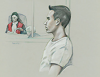 Montreal - CANADA - File images -  An artist's sketch shows Luka Rocco Magnotta appearing in court for his preliminary hearing in Montreall for the murder of Lin Jun, March 11, 2013.<br /> <br /> It is one of the most grisly and sensational murder trials in Canadian history<br /> <br /> Image :  Agence Quebec Presse  - Atalante