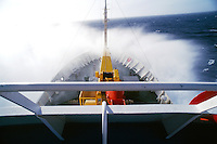 View of ship crossing the drake passage on the way to the Antartic Peninsula, Antarctica