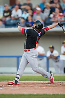 Brian Burgamy (9) of the New Jersey Jackals follows through on his swing against the Sussex County Miners at Skylands Stadium on July 29, 2017 in Augusta, New Jersey.  The Miners defeated the Jackals 7-0.  (Brian Westerholt/Four Seam Images)