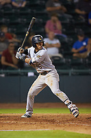 Oswald Peraza (5) of the Charleston RiverDogs at bat against the Hickory Crawdads at L.P. Frans Stadium on August 10, 2019 in Hickory, North Carolina. The RiverDogs defeated the Crawdads 10-9. (Brian Westerholt/Four Seam Images)